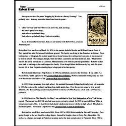 Print <i>Robert Frost</i> reading comprehension.