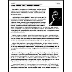Print <i>Yellow Springs Teller - Virginia Hamilton</i> reading comprehension.