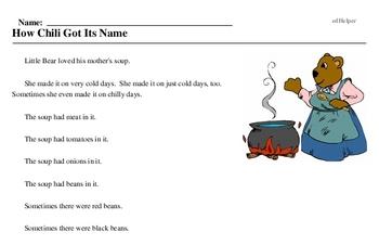 Print <i>How Chili Got Its Name</i> reading comprehension.
