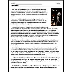 Print <i>Lois Lowry</i> reading comprehension.