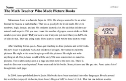 Print <i>The Math Teacher Who Made Picture Books</i> reading comprehension.