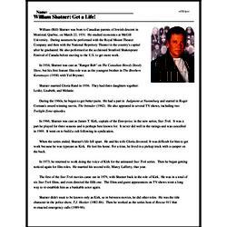 Print <i>William Shatner: Get a Life!</i> reading comprehension.