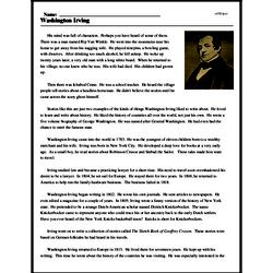 Print <i>Washington Irving</i> reading comprehension.