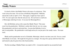 Print <i>Muddy Waters</i> reading comprehension.