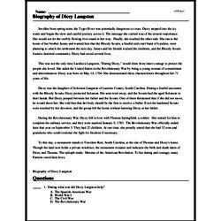 Print <i>Biography of Dicey Langston</i> reading comprehension.