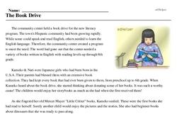 Print <i>The Book Drive</i> reading comprehension.