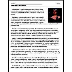 Print <i>Dame Kiri Te Kanawa</i> reading comprehension.