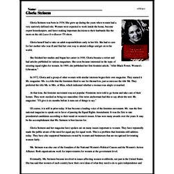 Print <i>Gloria Steinem</i> reading comprehension.
