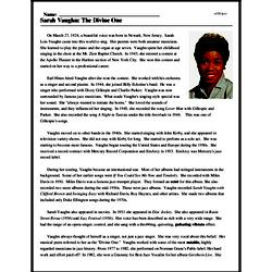 Print <i>Sarah Vaughn: The Divine One</i> reading comprehension.
