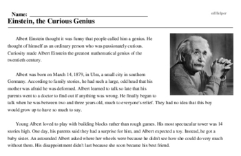 Albert Einstein<BR>Einstein, the Curious Genius