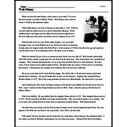 Print <i>Walt Disney</i> reading comprehension.