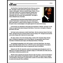 Print <i>Kofi Annan</i> reading comprehension.