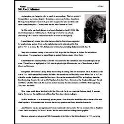 Print <i>Sir Alec Guinness</i> reading comprehension.