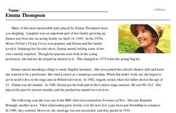 Print <i>Emma Thompson</i> reading comprehension.
