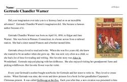 Print <i>Gertrude Chandler Warner</i> reading comprehension.