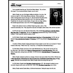 Print <i>Shirley Temple</i> reading comprehension.