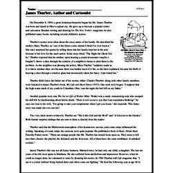 Print <i>James Thurber, Author and Cartoonist</i> reading comprehension.