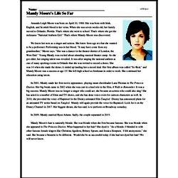 Print <i>Mandy Moore's Life So Far</i> reading comprehension.