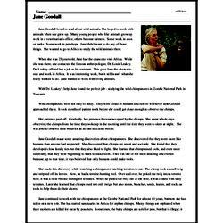Print <i>Jane Goodall</i> reading comprehension.