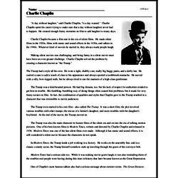 Print <i>Charlie Chaplin</i> reading comprehension.
