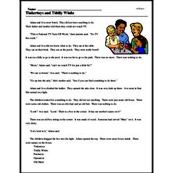 Print <i>Tinkertoys and Tiddly Winks</i> reading comprehension.