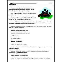 Print <i>Three Trees</i> reading comprehension.