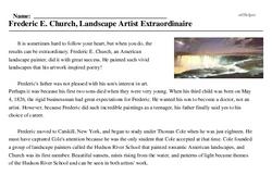 Frederic E. Church<BR>Frederic E. Church, Landscape Artist Extraordinaire