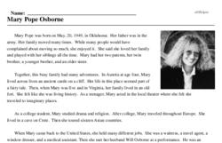 Print <i>Mary Pope Osborne</i> reading comprehension.
