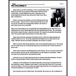 Print <i>The Great Johnny U.</i> reading comprehension.