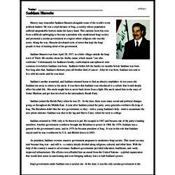 Print <i>Saddam Hussein</i> reading comprehension.