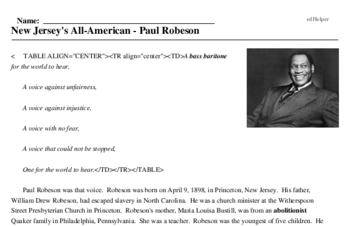 Print <i>New Jersey's All-American - Paul Robeson</i> reading comprehension.