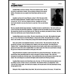 Print <i>Josephine Baker</i> reading comprehension.