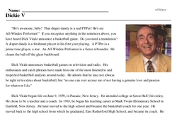 Print <i>Dickie V</i> reading comprehension.