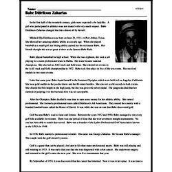 Print <i>Babe Didrikson Zaharias</i> reading comprehension.