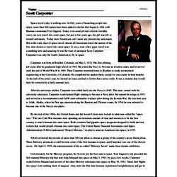 Print <i>Scott Carpenter</i> reading comprehension.