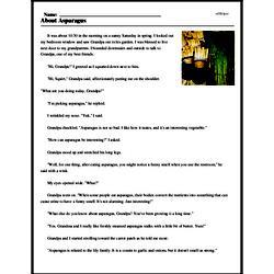 Print <i>About Asparagus</i> reading comprehension.