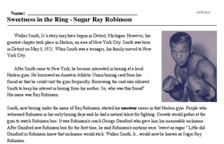 Print <i>Sweetness in the Ring - Sugar Ray Robinson</i> reading comprehension.