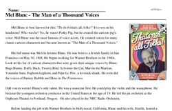 Print <i>Mel Blanc - The Man of a Thousand Voices</i> reading comprehension.