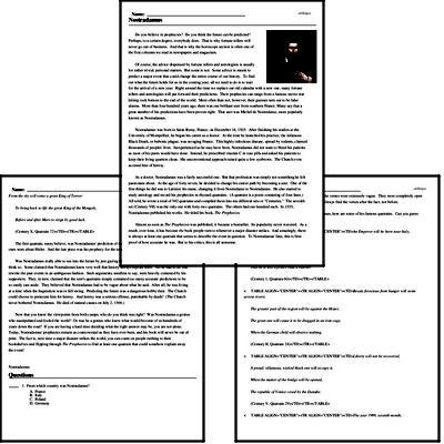 Print <i>Nostradamus</i> reading comprehension.