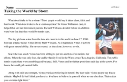 Venus Williams<BR>Taking the World by Storm
