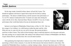 Print <i>Judith Jamison</i> reading comprehension.