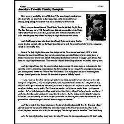 Print <i>America's Favorite Country Bumpkin</i> reading comprehension.