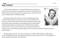 Print <i>Judy Garland</i> reading comprehension.