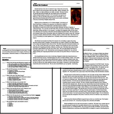 Print <i>Richard the Lionheart</i> reading comprehension.
