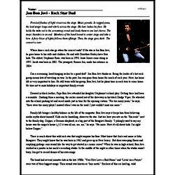 Print <i>Jon Bon Jovi - Rock Star Dad</i> reading comprehension.