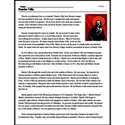 Print <i>Pancho Villa</i> reading comprehension.
