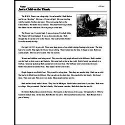 Print <i>Just a Child on the <i>Titanic</i></i> reading comprehension.