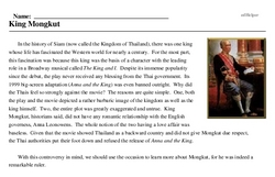 Print <i>King Mongkut</i> reading comprehension.