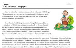 Print <i>Who Invented Lollipops?</i> reading comprehension.
