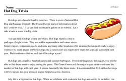 National Hot Dog Month<BR>Hot Dog Trivia